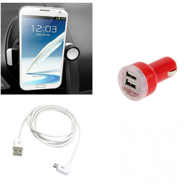 Pack Support Universel Ventilation Etirable + Adaptateur DUO 2A Rouge + Cable Blanc 1m