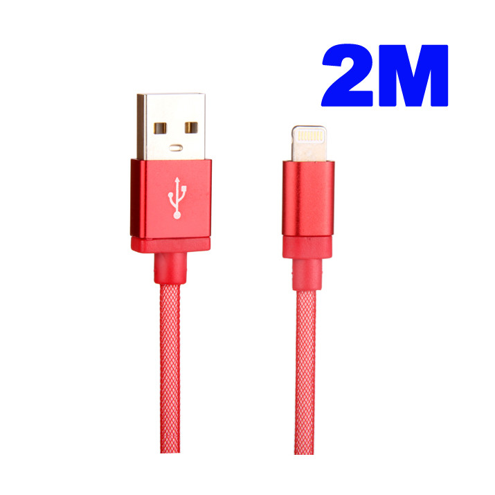 Cable Rouge 2 mètres Data et Charge USB-Dock pour iPhone 6 Plus