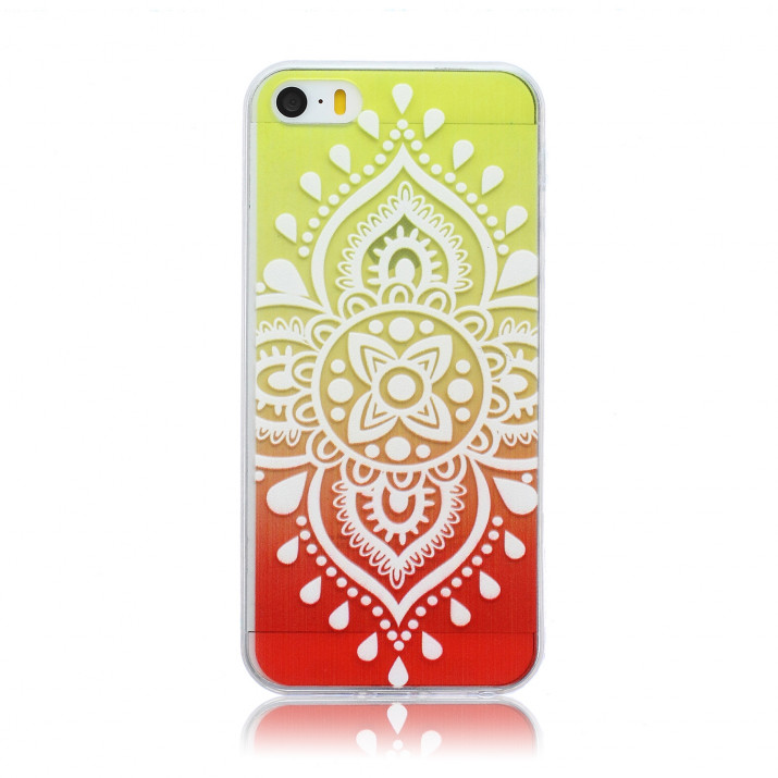 Coque pour iPhone SE fantaisie Mandala jaune-orange