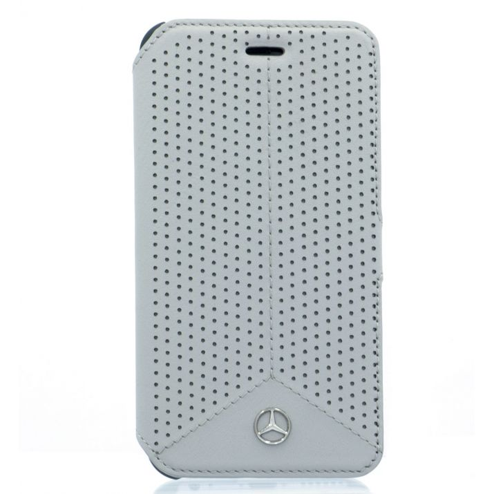 Etui Mercedes portefeuille iPhone 6s perforé grise